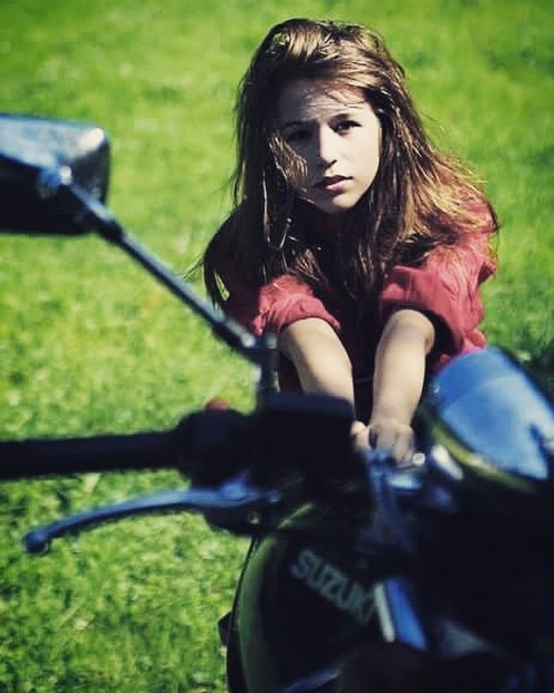 motorcycle,summer, young model, actress, village