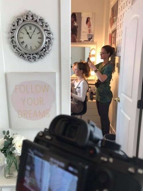 Perfect BTS shot by Don Gumabao. At Gloss Boudoir Studio. With Victoria Kuzma MobileHairstylist. Shooting for Kathryn Bass Bridal