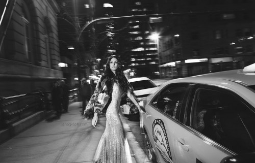 Night in the city. Fashion photoshoot with gorgeous Paris Solati. Thank you. Cynthia for amazing dress. – Downtown Calgary.